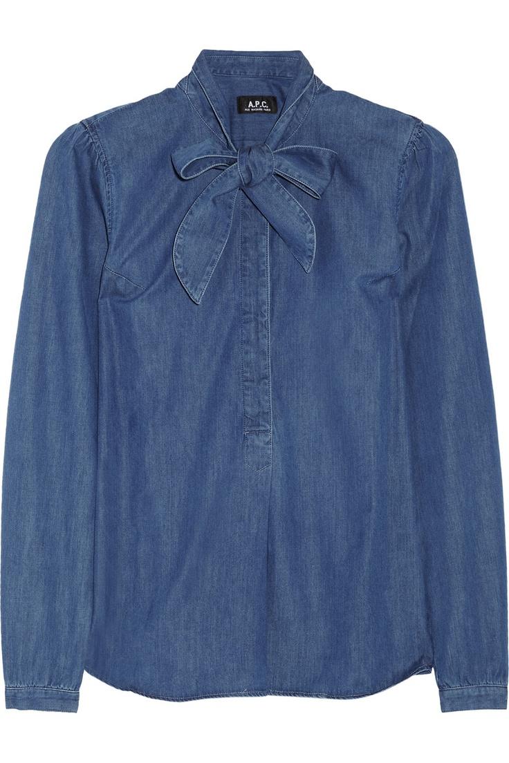 A.P.C. Denim pussy-bow blouse NET-A-PORTER.COM
