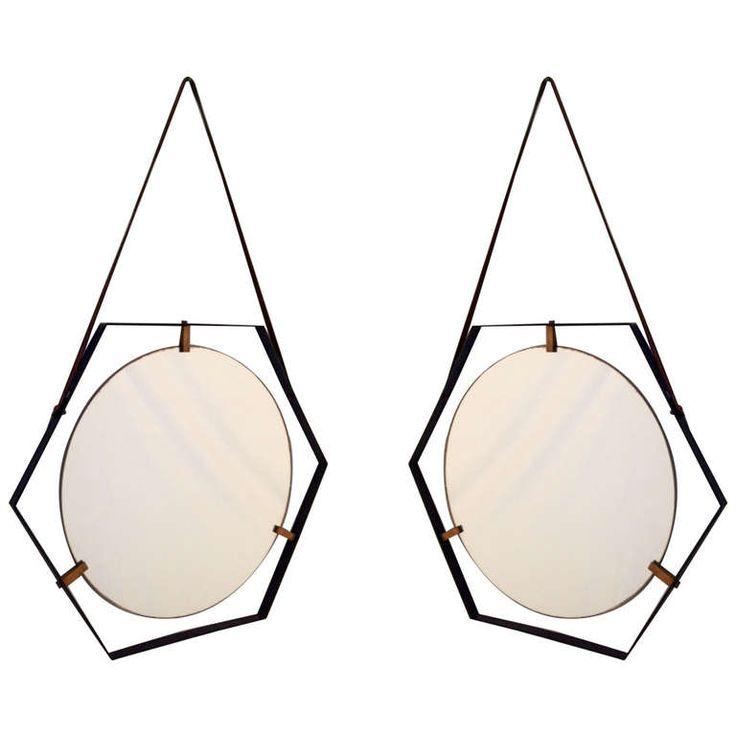 Pair Of Hexagonal 50's Mirrors