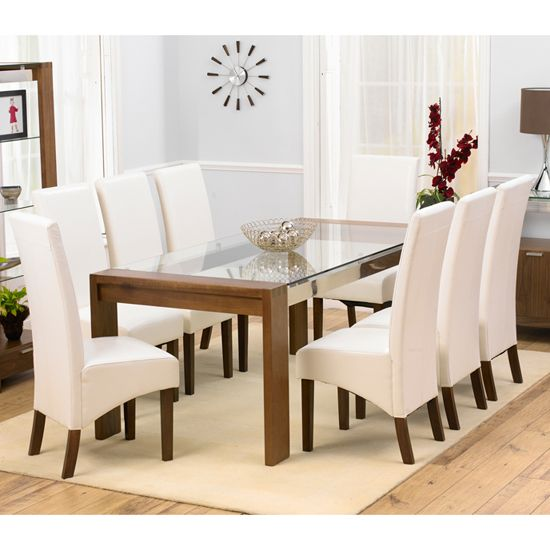 Arturo Rectangle Walnut Glass Top Dining Table And 8 WNG Chairs