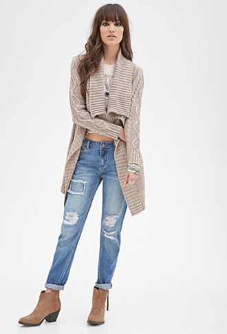 Draped Cable Knit Cardigan | FOREVER21 - 2000099872