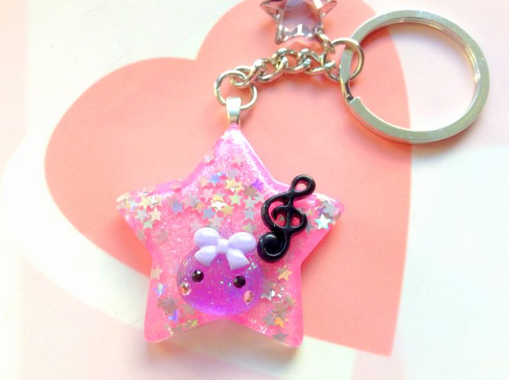 Cute Keychain, Music Star Purple Hoppe Chan, Pink Star Kawaii Keychain, Anime Gift, Unique Key Chain, Japan, Harajuku, Pop Kei, Goth Lolita by CreaBia on Etsy
