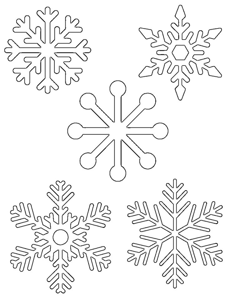 5 small snowflakes on one page to print out for kids activities (tracing, coloring pages, etc)