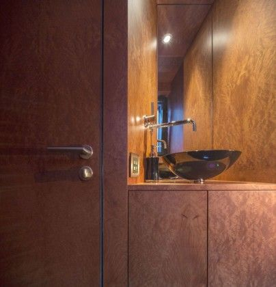 great brown color idea applied in haus von arx applied in powder room interior design idea finished with best bathroom sink plans