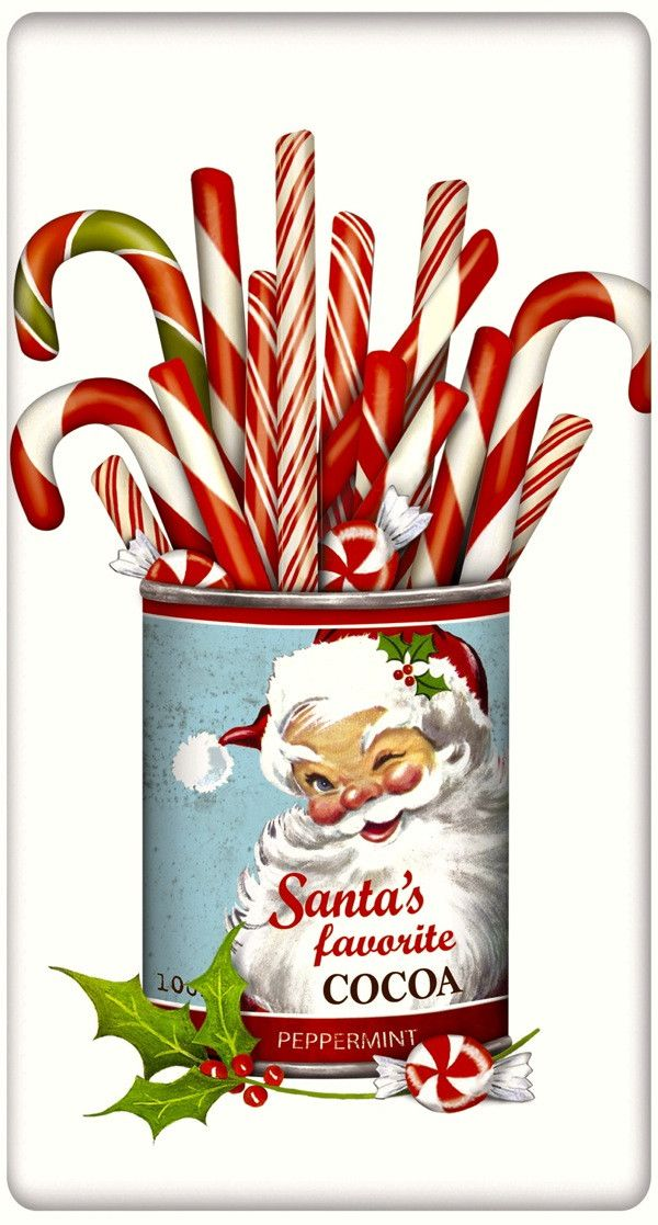 Cocoa Can Full of Candy Canes Christmas 100% Cotton Flour Sack Dish Towel Tea Towel