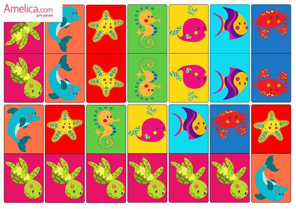 Детское домино, настольные игры распечатать для детей 2,3,4,5,6 лет