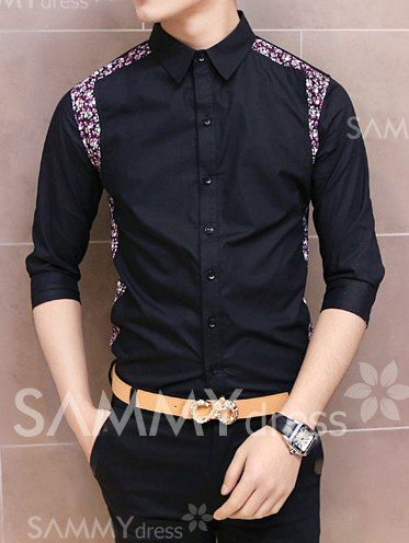 $11.66 Fashion Floral Print Splicing Shirt Collar Three-Quarter Sleeve Slimming Polyester Shirt For Men