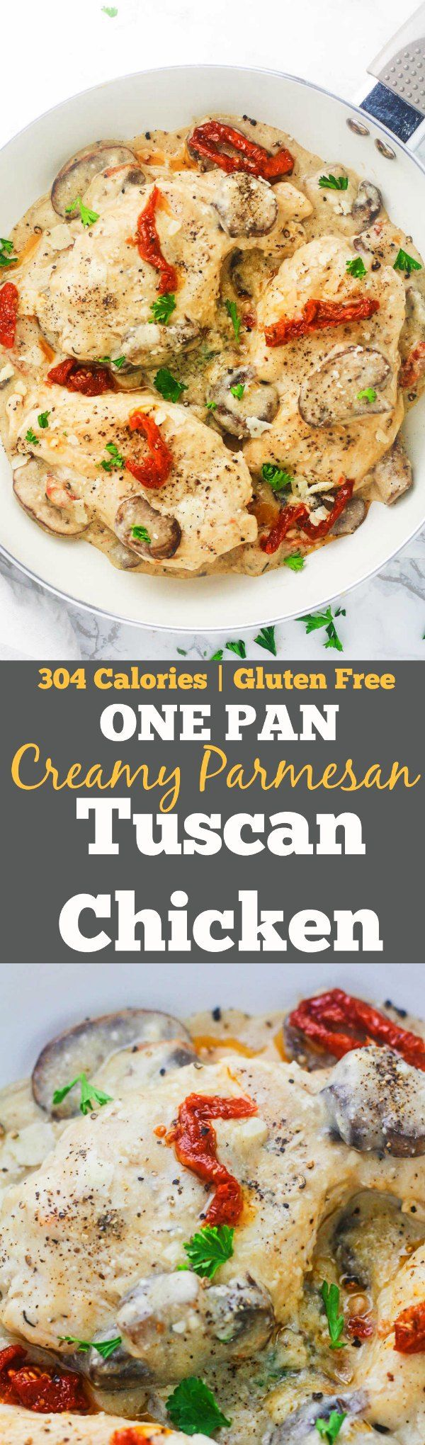 One pan, creamy Parmesan Tuscan Chicken. Succulent chicken breasts, coated in a deliciously creamy Greek yogurt Parmesan sauce and topped with sun-dried tomatoes. This one pan meal is packed with flavors while still being gluten free and low calorie! www.itscheatdayeveryday.com