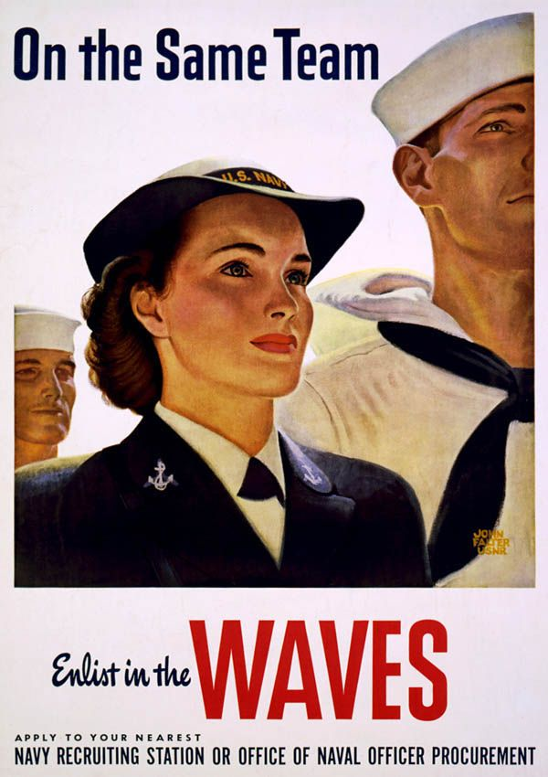 Women Enlist in the WAVES - WW2 U.S. Navy Recruiting Poster