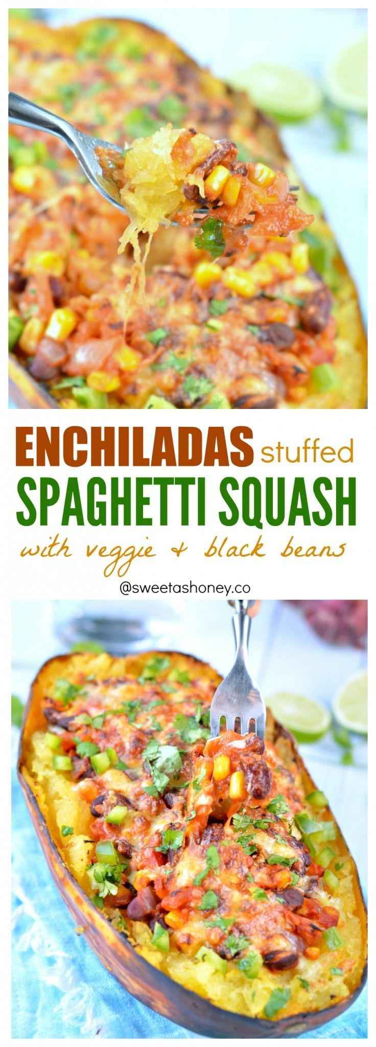 Vegetarian enchiladas stuffed spaghetti squash recipe | You won't miss the tortillas wrap. A great easy clean eating recipe to cut the carbs and enjoy healthy Mexican food. Gluten free dinner, Vegan spaghetti squash option provided.