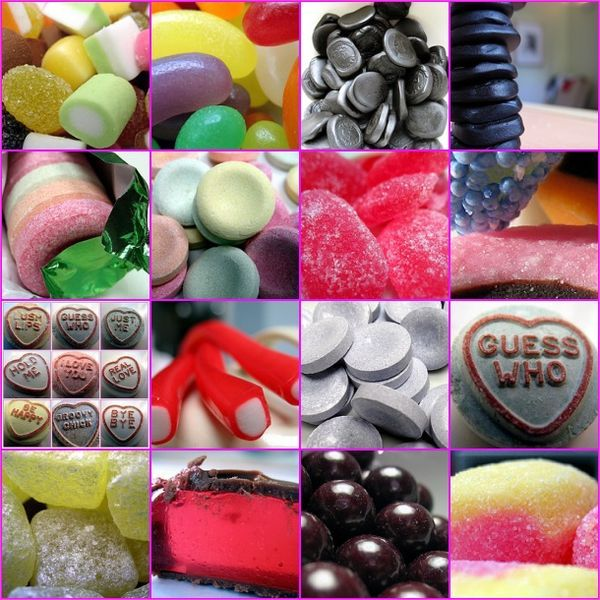 1. Dolly Mixtures, 2. Jelly beans, 3. Pontefract cakes, 4. A tower of Pontefract cakes, 5. Refreshers 5, 6. Refreshers 4, 7. Sarsaparilla drops, 8. Liquorice allsorts in your face, 9. My loveheart creation, 10. Sweets, 11. Giant parma violets, 12. Guess who, 13. Pineapple chunks, 14. Full of East Lancashire Promise.., 15. Aniseed balls, 16. Rhubarb and Custard