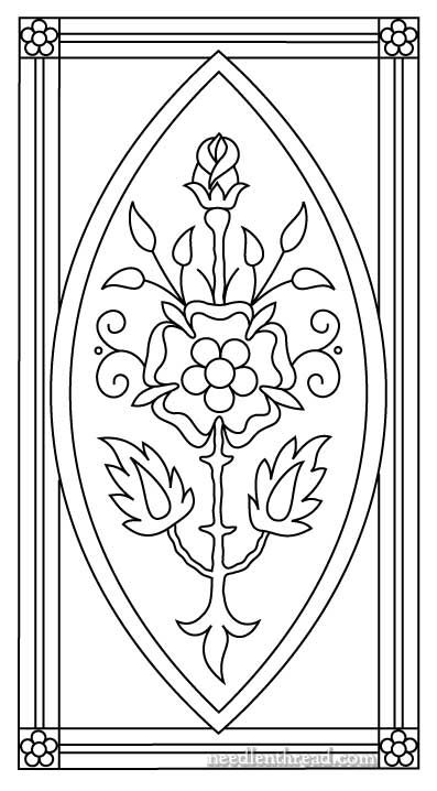 """Mission Rose as I'm doing it is not an ecclesiastical piece – it's simply decorative embroidery, and for now, my """"finished vision"""" of it involves framing and hanging. I think if the design were a little wider, it would make a nice book cover or something like that. It would also make a great insert for a box top, for a long box that opens on the short end. But for me, I want to frame this one."""