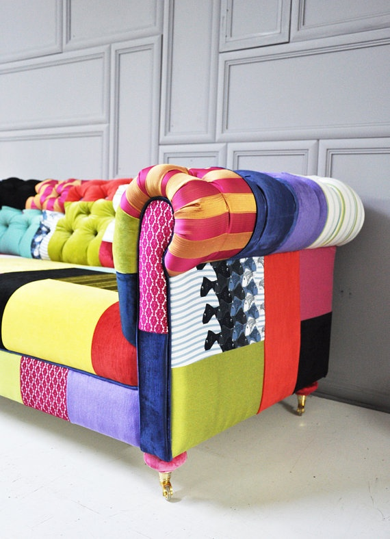 colorful chesterfield patchwork sofa by namedesignstudio