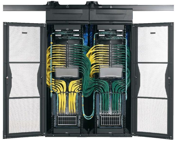 yellow and green cable management dual racks redundancy and clean install server room