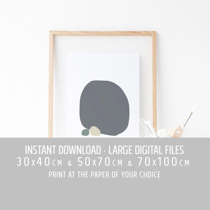 Digital art large wall decor, Affiche, tons de gris, minimalist poster art prints, Tinos island, Greece, 30x40cm, 50x70cm, 70x100cm by TheRoundButton on Etsy
