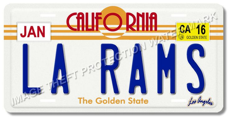 LA RAMS Los Angeles California NFL Football Team Aluminum Vanity License Plate