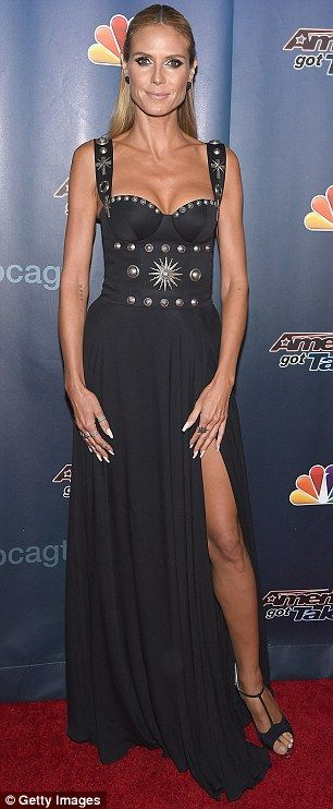 Season finale: Heidi Klum wore a long black bustier dress on Wednesday to the season finale of America's Got Talent