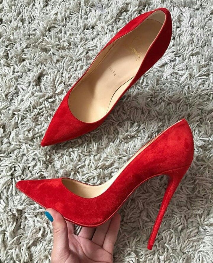 Christian Louboutin red suede 'So Kate