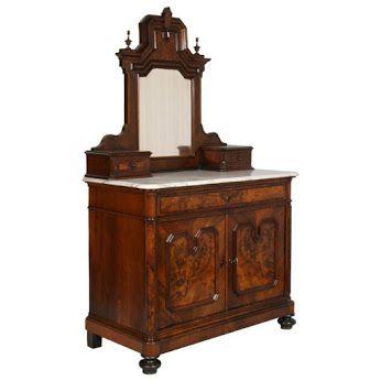 Comò con specchio umbertino radica noce 800 #Antique #dresser with mirror #walnut #19th century cm: H100+102 L125 P62 Contact | Per richieste scrivere a: info@artistic.it   www.artisticantichita.com