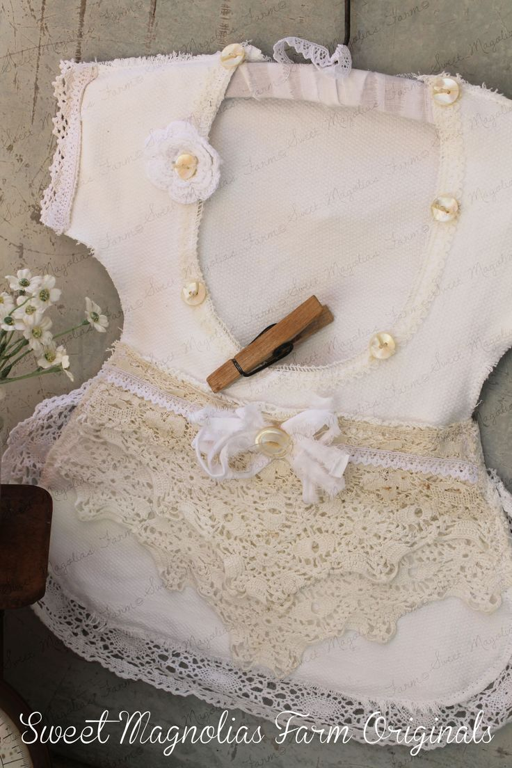 Vintage Dress Clothespin Bag ~ White on Whites Laces and Mother of Pearl Buttons by sweetmagnoliasfarm $38.50