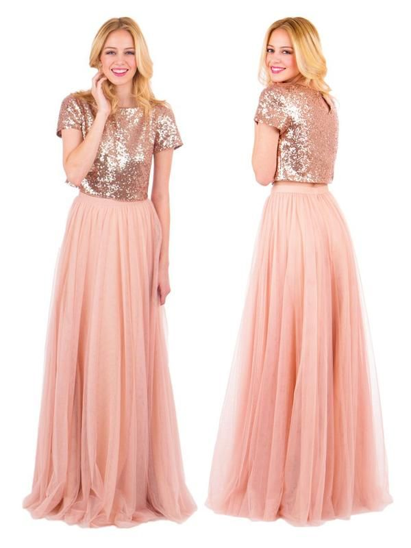 852dfb5ceb4 Two Piece Long Bridesmaid Dresses Short Sleeve Dusty Rose Bridesmaid Dresses  ARD1190 in 2019