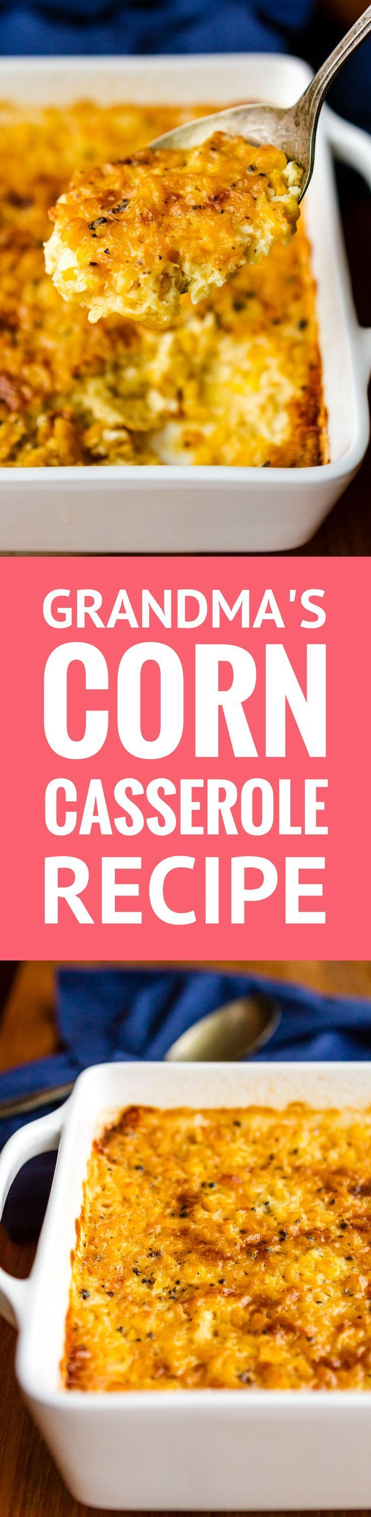 Corn Casserole Recipe -- This creamed corn casserole recipe is SO good you'll want to scrape the dish completely clean to get every last bit of caramelized goodness from the corners! It's on the menu for every family gathering I host… | baked creamed corn casserole | sweet corn casserole | corn casserole from scratch | easy corn casserole recipe | custard corn | corn pudding | find the recipe on unsophisticook.com #thanksgiving #thanksgivingrecipes #sidedishes #corncasserole