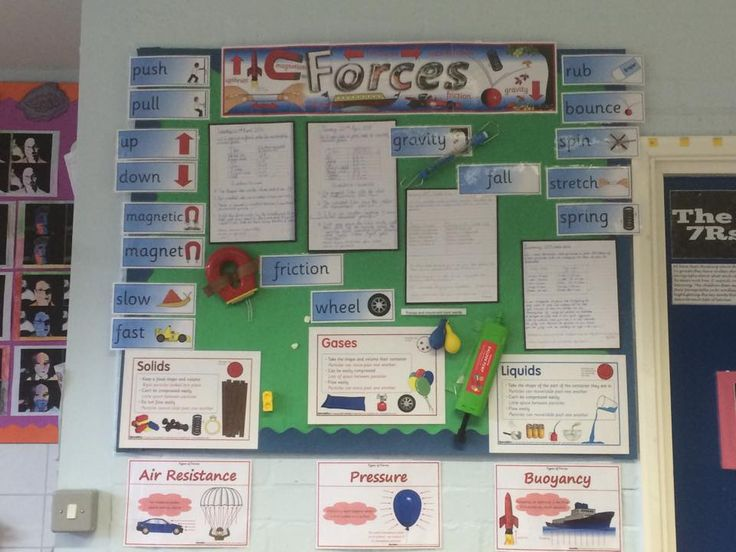 A Year 4 science display on forces.