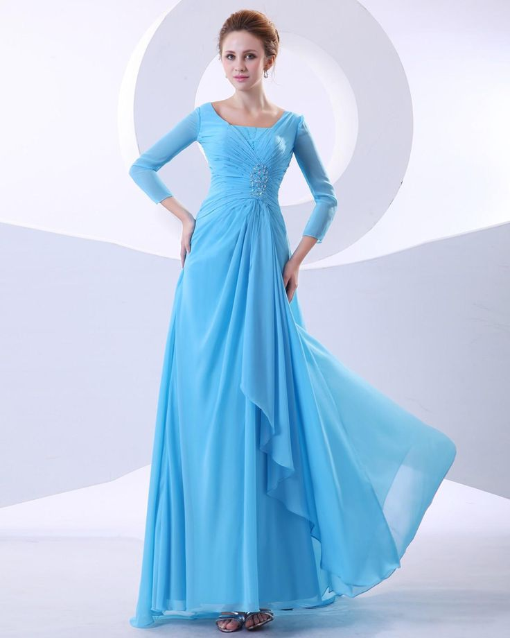 Square Neck Ankle Length Mothers Of Bride Guests Dress With Pleated Bodice