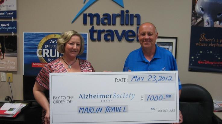 Marlin travel donates 1000 to Alzheimer Brant