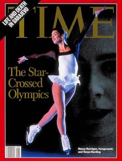 Nancy Kerrigan, from Outline; in background Tonya Harding by Tom Treick-The Oregonian/Sygma.