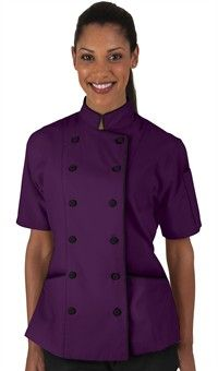 Women's Tailored Chef Coat with Piping - Fabric Covered Buttons - 65/35 Poly/Cotton