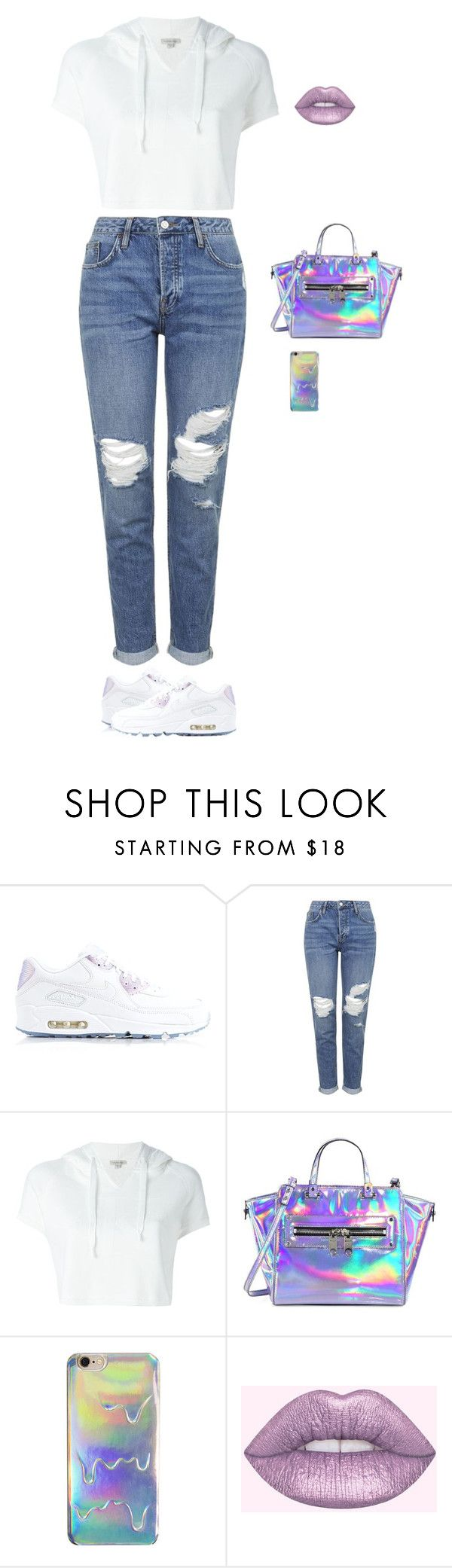 """""""Holographic"""" by wildcalifornia2016 ❤ liked on Polyvore featuring NIKE, Topshop, Calvin Klein Jeans, Milly and Lime Crime"""