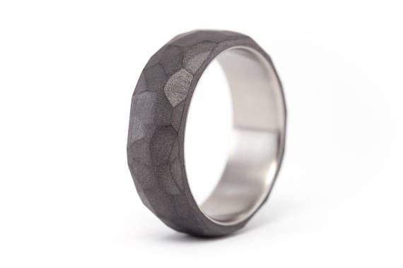 Titanium And Graphite Ring Hammered Wedding Band Matte Etsy Titanium Engagement Rings Wooden Rings Engagement Hammered Wedding Bands
