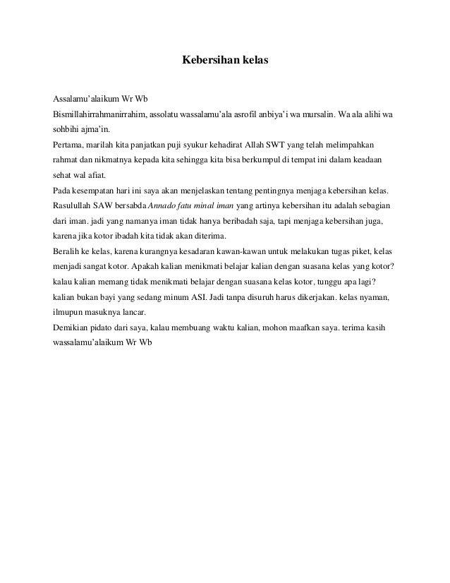 Pidato Kelas 6 Sd Tentang Kebersihan Lukisan
