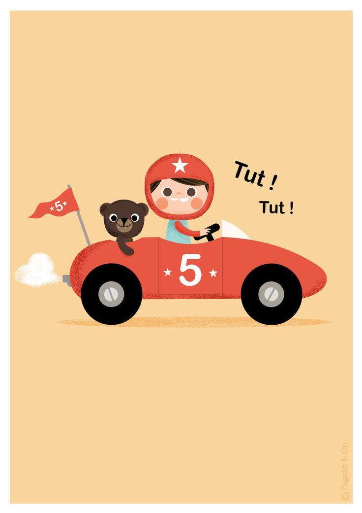 Affiche déco pour chambre d'enfant * Petit bolide * : Décoration pour enfants par pagaille-et-cie