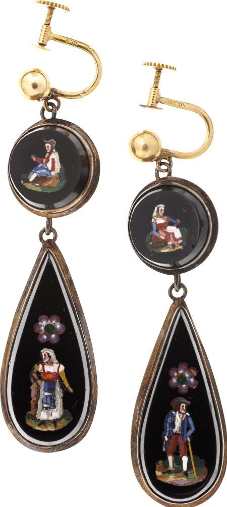 "Pair of Pendant Earrings Owned by Mary Todd Lincoln. These ""earbobs"" appear to be made of gold-mounted black onyx"