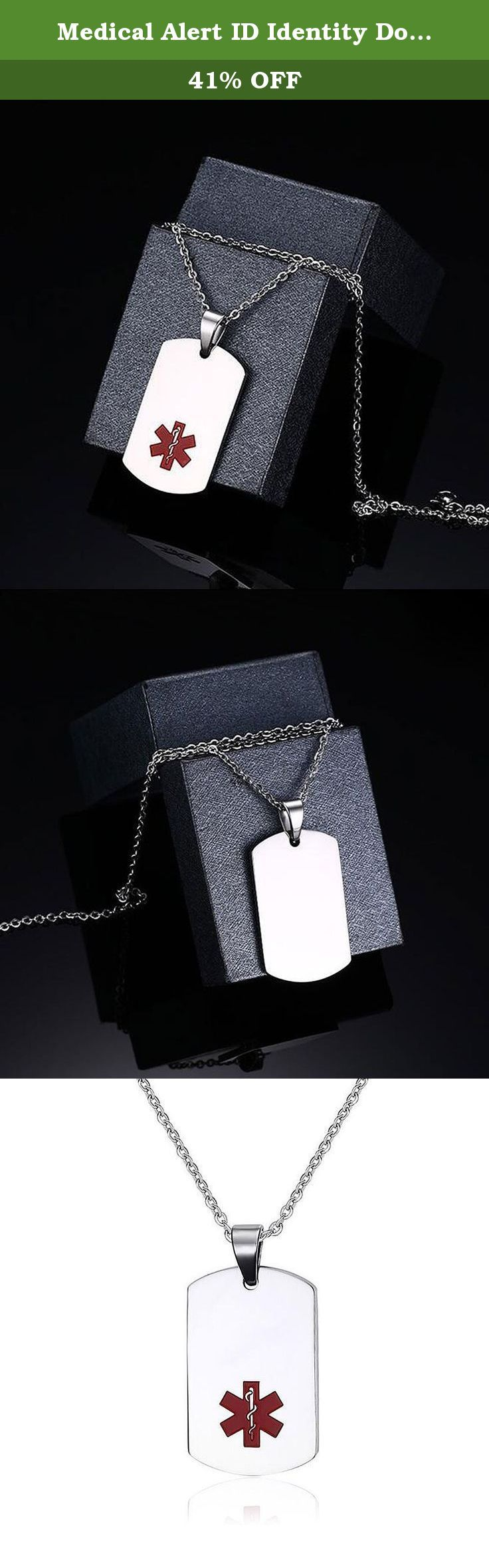 """Medical Alert ID Identity Dog Tag Pendant Stainless Steel Necklace For Men 22"""". As a diabetic patient you know that awareness is the strongest weapon against diabetic shock. Awareness of your sugar levels, awareness of your diet, awareness of your weight and awareness of your surroundings. However you can not count on everyone else to be as aware as you. That is why it is imperative to get yourself a medical alert ID so that your diabetic condition can be known if ever there is a need…"""