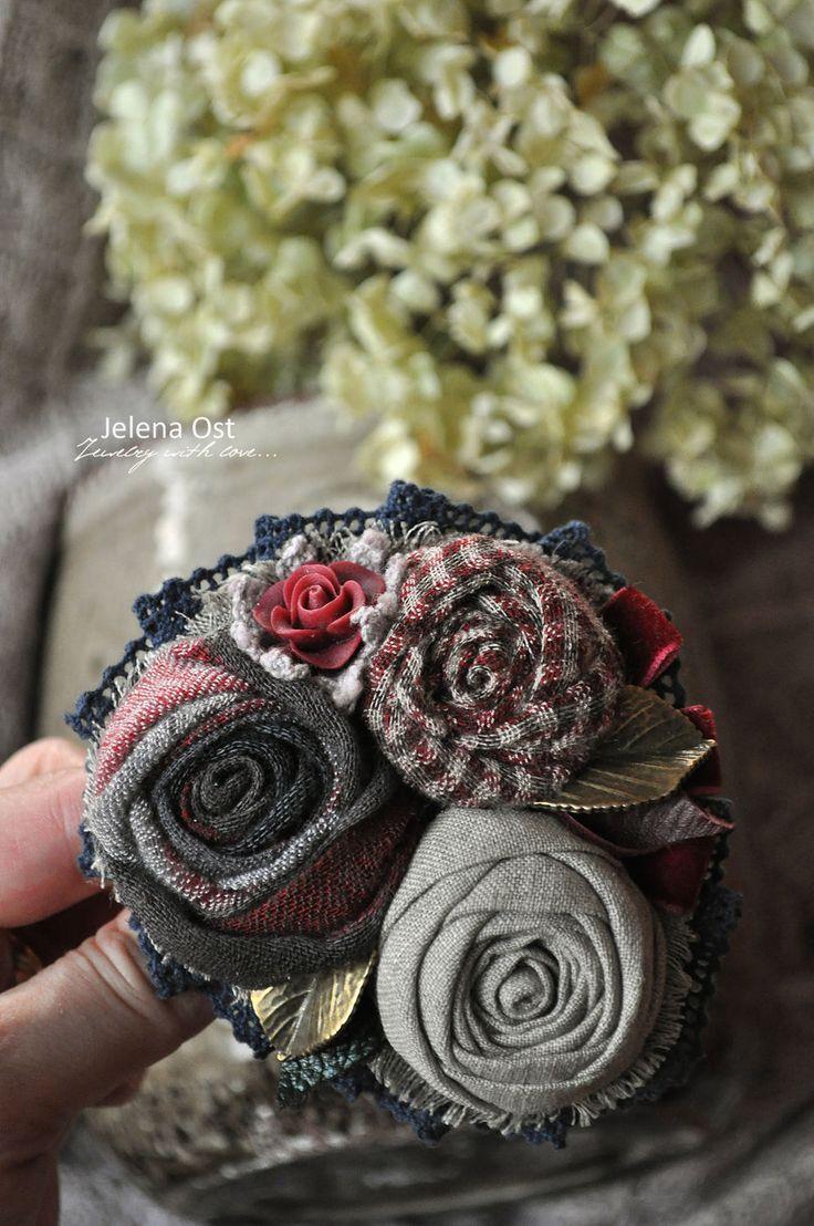 """Купить Текстильная брошь """"Ноябрь. Вечер."""" - брошь, брошь цветок, роза, брошь роза"""