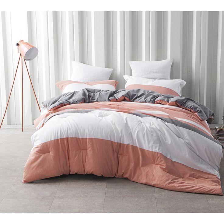 BYB Vanilla Slate Grey/ Orange Stripe Comforter (Shams Not Included) | Overstock.com Shopping - The Best Deals on Teen Comforter Sets