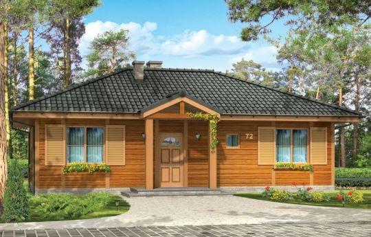 Projekt Dudek to dom parterowy z bali litych, mogącego służyć jako całoroczne mieszkanie dla rodziny 4-5 osobowej, jak i jako dom letniskowy. Konstrukcja sumikowo-łątkowa z litych bali została od wewnątrz ocieplona wełną mineralną, więc budynek spełnia wszelkie normy cieplne. Sam dom, prócz salonu z kominkiem i trzech sypialni z łazienką ma duży zadaszony taras, który może być częściowo przeszklony.