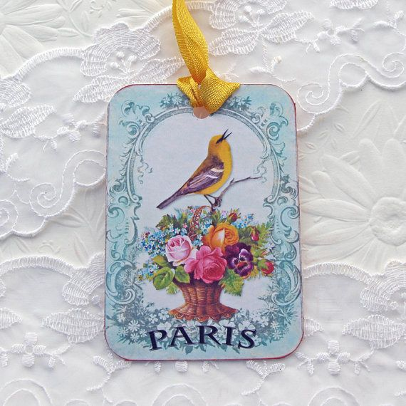 Tags Bird Gift Hang Party Favor Paris Singing by EnchantedQuilling