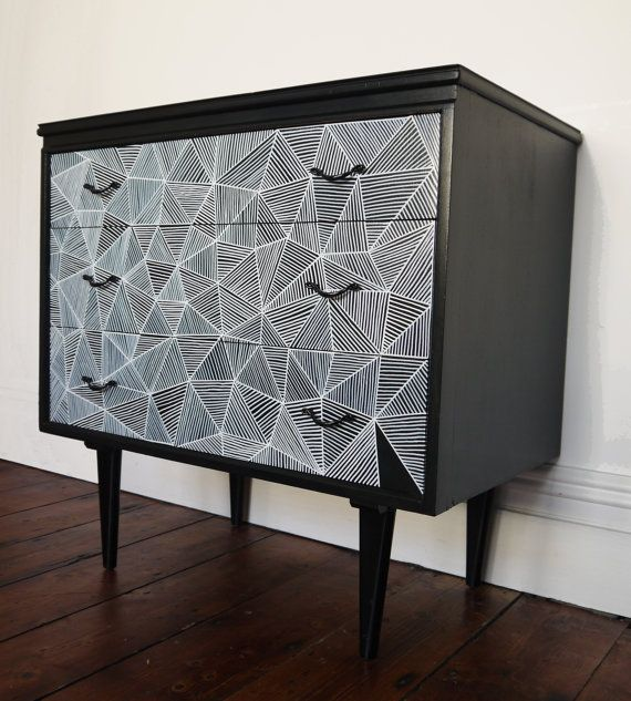Retro upcycled illustrated chest of drawers by HandsomeVintage