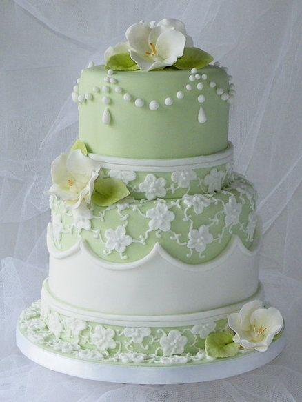 Stunning! Sage Lace Wedding Cake ~ All edible