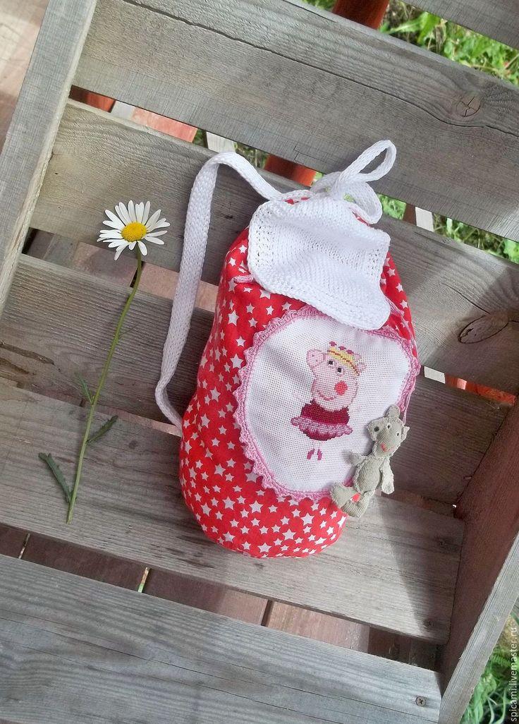 Купить Рюкзачок Свинка Пеппа - ярко-красный, в горошек, рюкзак, рюкзачок, рюкзак детский