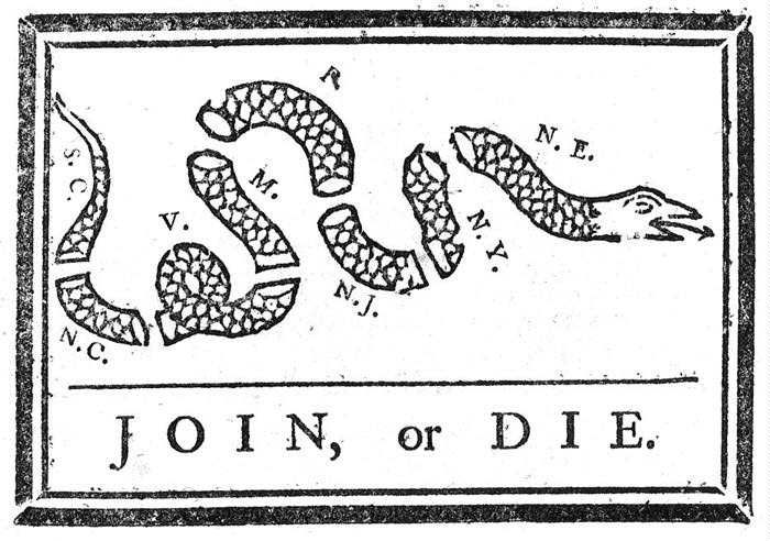 """Ben Franklin knew propaganda and politics... and drew this up to help the Revolutionary war effort. Later, it evolved into the """"Don't Tread on Me"""" flag..."""