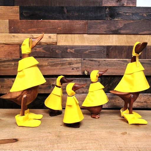Wooden Rainy Day Ducks Dressed To The Nines In Raincoats