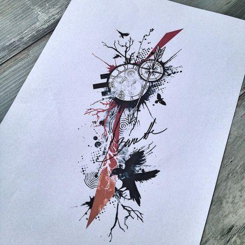 Trash polka tree, clock and ravenwww.skinque.com