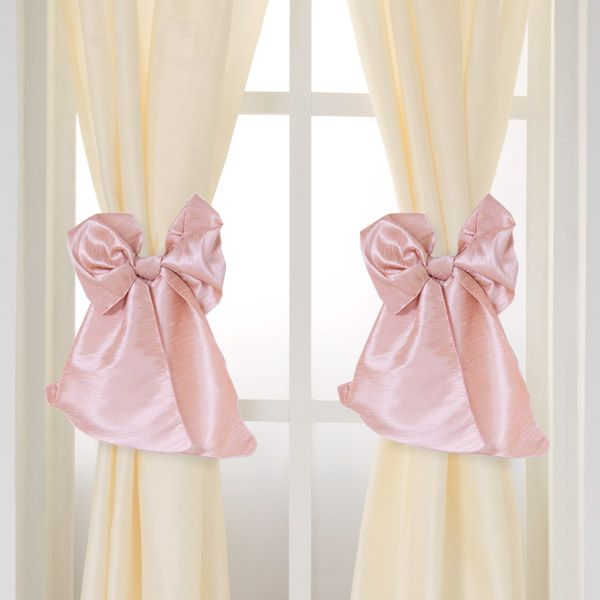 serafina cream curtain panels (set of 2)v#nursery #windowtreatments #curtains #cream #blush #bows
