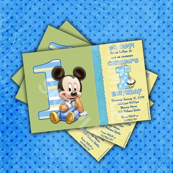 PERSONALIZED Mickey Mouse 1st Birthday Party Invitations 12ct-36ct Fast