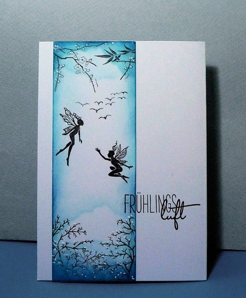 "blog.karten-kunst.de - Frühlingsluft. Lavinia Stamps: ""Three Dancing Fairies"" , ""Fern Leaf"", ""Birds""  +  Karten-Kunst Clear Stamp Set Capri ""Jahreszeiten"""