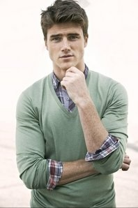 Simple male fashion, green v-neck sweater w/ plaid collared shirt